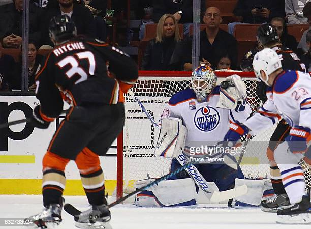 Cam Talbot of the Edmonton Oilers makes the second period save on Nick Ritchie of the Anaheim Ducks at the Honda Center on January 25 2017 in Anaheim...
