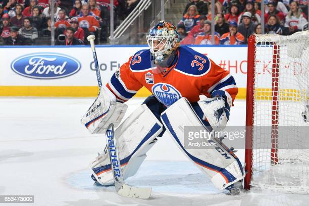 Cam Talbot of the Edmonton Oilers prepares to make a save during the game against the Montreal Canadiens on March 12 2017 at Rogers Place in Edmonton...