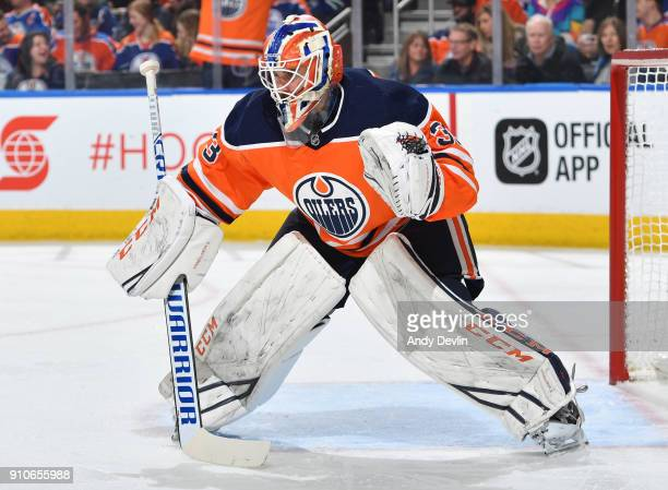 Cam Talbot of the Edmonton Oilers prepares to make a save during the game against the Vancouver Canucks on January 20 2017 at Rogers Place in...