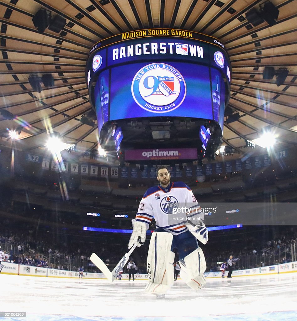 Cam Talbot #33 of the Edmonton Oilers prepares to play against the New York Rangers at Madison Square Garden on November 3, 2016 in New York City. The Rangers defeated the Oilers 5-3.