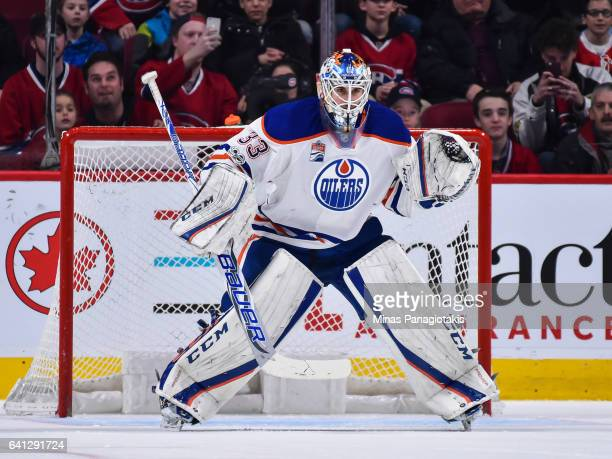Cam Talbot of the Edmonton Oilers remains focused during the NHL game against the Montreal Canadiens at the Bell Centre on February 5 2017 in...