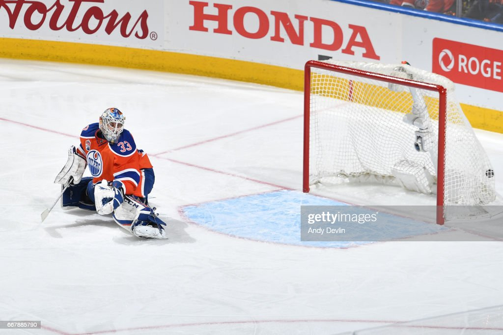 Cam Talbot #33 of the Edmonton Oilers sees the puck go past him in Game One of the Western Conference First Round during the 2017 NHL Stanley Cup Playoffs against the San Jose Sharks on April 12, 2017 at Rogers Place in Edmonton, Alberta, Canada.