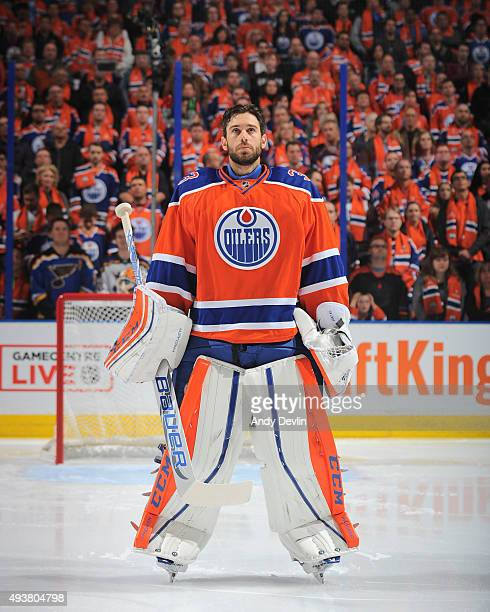 Cam Talbot of the Edmonton Oilers stands for the sing of national anthem prior to a game against the St Louis Blues on October 15 2015 at Rexall...
