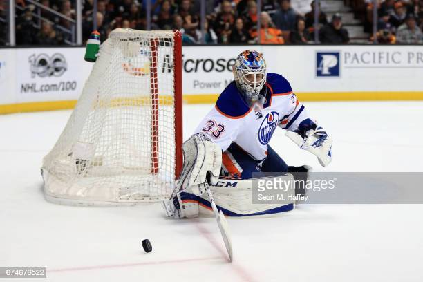 Cam Talbot of the Edmonton Oilers tends goal during the third period of Game Two of the Western Conference Second Round during the 2017 NHL Stanley...