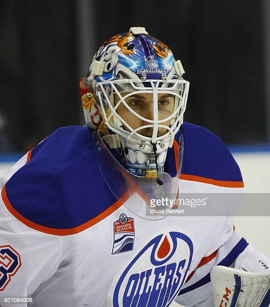 Cam Talbot of the Edmonton Oilers tends net against the New York Rangers at Madison Square Garden on November 3 2016 in New York City The Rangers...
