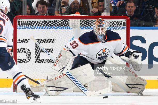 Cam Talbot of the Edmonton Oilers tends the net against the New York Rangers at Madison Square Garden on November 11 2017 in New York City The New...