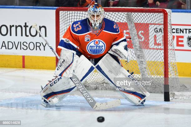 Cam Talbot of the Edmonton Oilers warms up prior to the game against the Colorado Avalanche on March 25 2017 at Rogers Place in Edmonton Alberta...