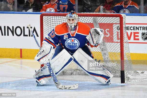 Cam Talbot of the Edmonton Oilers warms up prior to the game against the Los Angeles Kings on March 20 2017 at Rogers Place in Edmonton Alberta Canada