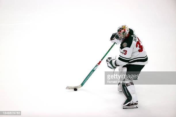 Cam Talbot of the Minnesota Wild before a game against the Anaheim Ducks at Honda Center on October 15, 2021 in Anaheim, California.