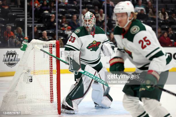 Cam Talbot of the Minnesota Wild in goal against the Anaheim Ducks in the first period at Honda Center on October 15, 2021 in Anaheim, California.