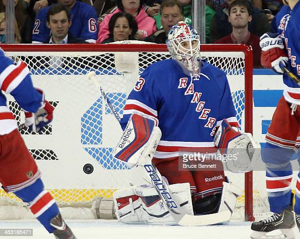 Cam Talbot of the New York Rangers allows a shot by Devin Setoguchi of the Winnipeg Jets to elude him during the second period at Madison Square...