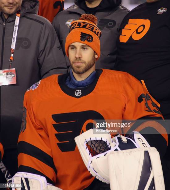 Cam Talbot of the Philadelphia Flyers poses during a team photo prior to the team's practice session prior to Saturday's 2019 Coors Light NHL Stadium...
