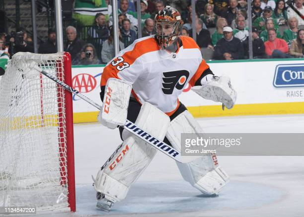 Cam Talbot of the Philadelphia Flyers tends goal against the Dallas Stars at the American Airlines Center on April 2 2019 in Dallas Texas