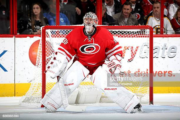 Cam Ward of the Carolina Hurricanes crouches in the crease during an NHL game against the Boston Bruins on December 23 2016 at PNC Arena in Raleigh...