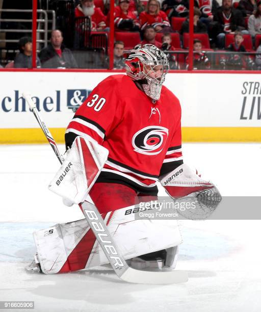 Cam Ward of the Carolina Hurricanes goes down in the crease to make a save during an NHL game against the San Jose Sharks on February 4 2018 at PNC...
