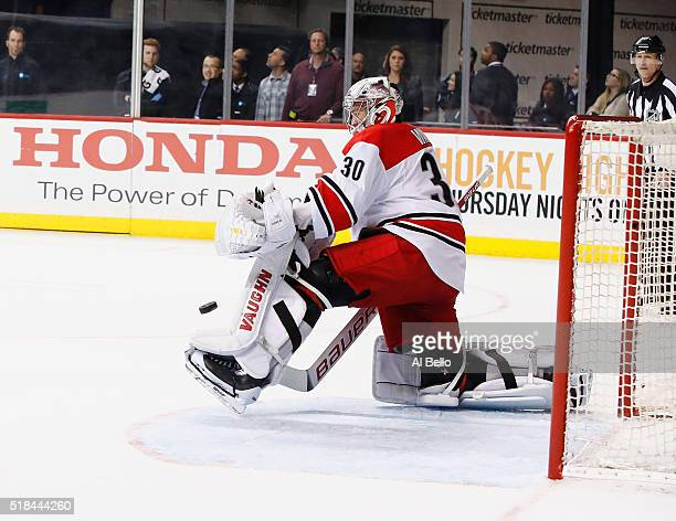 Cam Ward of the Carolina Hurricanes in action against the New York Islanders during their game at the Barclays Center on March 29 2016 in New York...