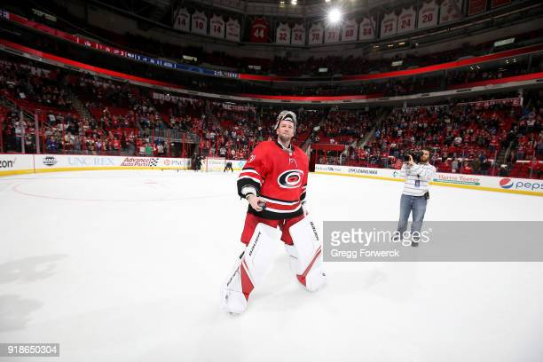 Cam Ward of the Carolina Hurricanes is named star of the game during an NHL game against the Colorado Avalance on February 10 2018 at PNC Arena in...