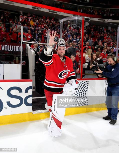 Cam Ward of the Carolina Hurricanes is recognized as the second star of the game for his win against the Colorado Avalanche following an NHL game on...