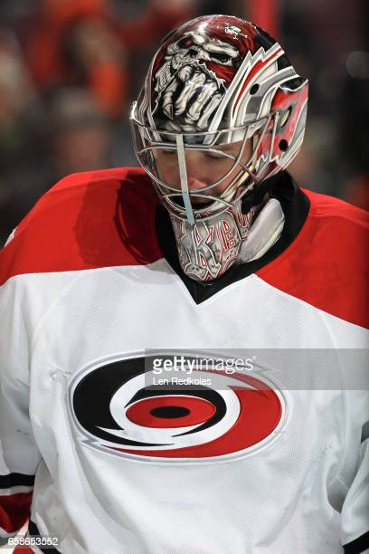 Cam Ward of the Carolina Hurricanes looks down during a stoppage in play against the Philadelphia Flyers on March 19 2017 at the Wells Fargo Center...