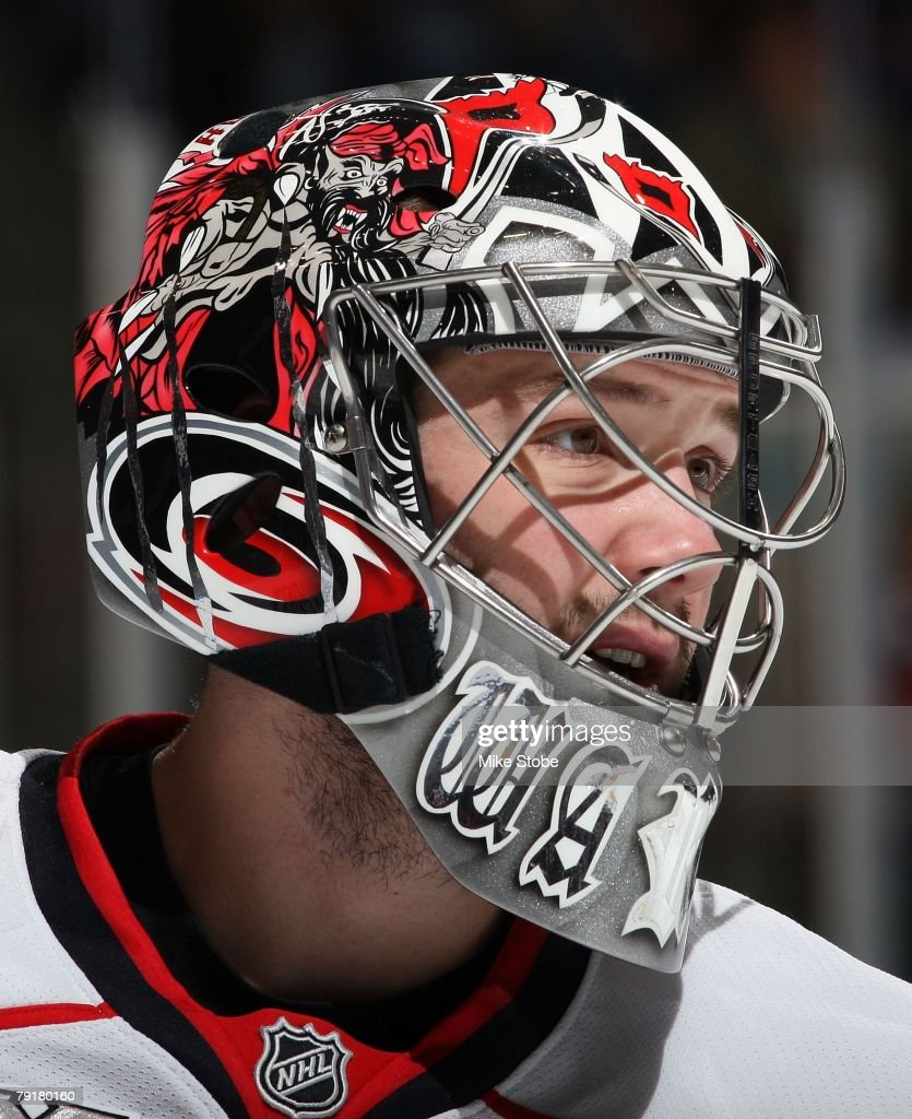 Cam Ward #30 of the Carolina Hurricanes looks on against the New York Islanders on January 21, 2008 at Nassau Coliseum in Uniondale, New York