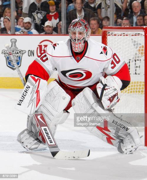 Cam Ward of the Carolina Hurricanes looks up ice against the Pittsburgh Penguins during Game One of the Eastern Conference Finals of the 2009 Stanley...