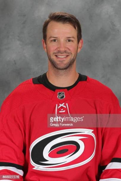 Cam Ward of the Carolina Hurricanes poses for his official NHL headshot for the 20172018 season on September 14 2017 at Carolina Family Practice in...