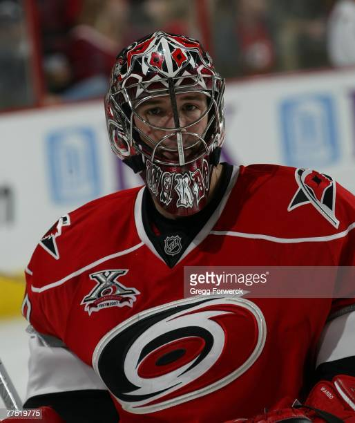 Cam Ward of the Carolina Hurricanes prepares for the third period against the Buffalo Sabres at RBC Center on October 24 2007 in Raleigh North...