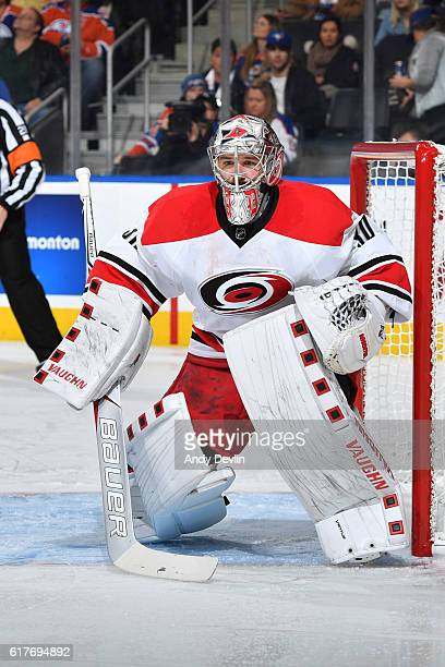 Cam Ward of the Carolina Hurricanes prepares to make a save during the game against the Edmonton Oilers on October 18 2016 at Rogers Place in...