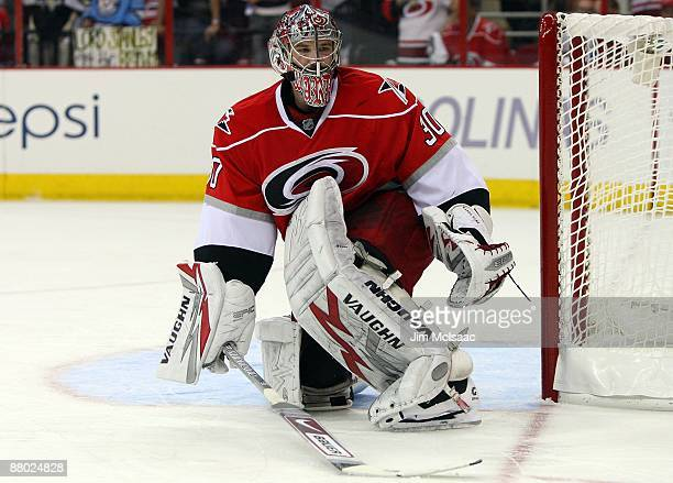 Cam Ward of the Carolina Hurricanes skates against the Pittsburgh Penguins during Game Four of the Eastern Conference Championship Round of the 2009...
