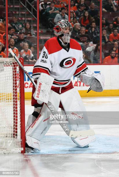 Cam Ward of the Carolina Hurricanes stands in goal against the Philadelphia Flyers on March 19 2017 at the Wells Fargo Center in Philadelphia...