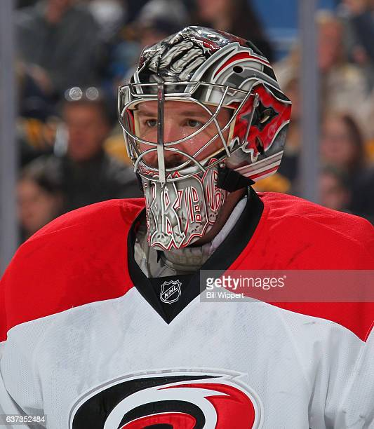 Cam Ward of the Carolina Hurricanes tends goal against the Buffalo Sabres during an NHL game at the KeyBank Center on December 22 2016 in Buffalo New...