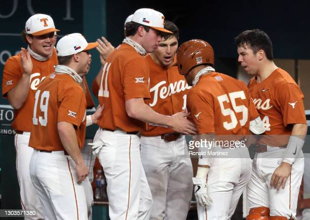 Cam Williams of the Texas Longhorns celebrates a homerun against the Mississippi Rebels in the fifth inning during the 2021 State Farm College...