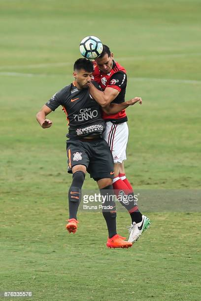 Camacho of Corinthians struggles for the ball with a Rhodolfo of Corinthians during the Brasileirao Series A 2017 match between Flamengo and...