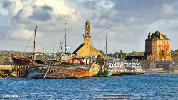 camaret old fishing port - finistere stock photos and pictures