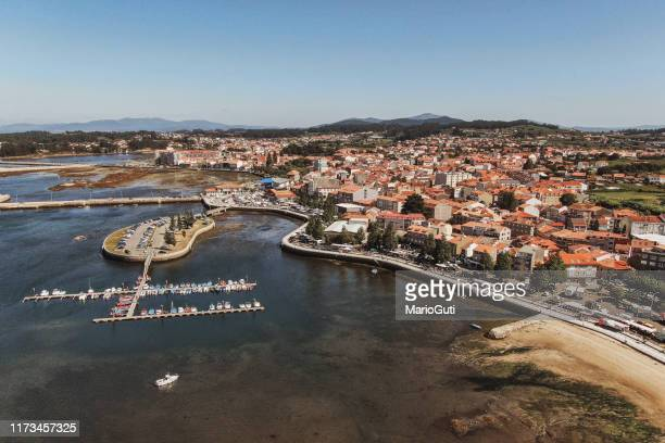 cambados, galicia, spain, as seen from above - pontevedra province stock photos and pictures
