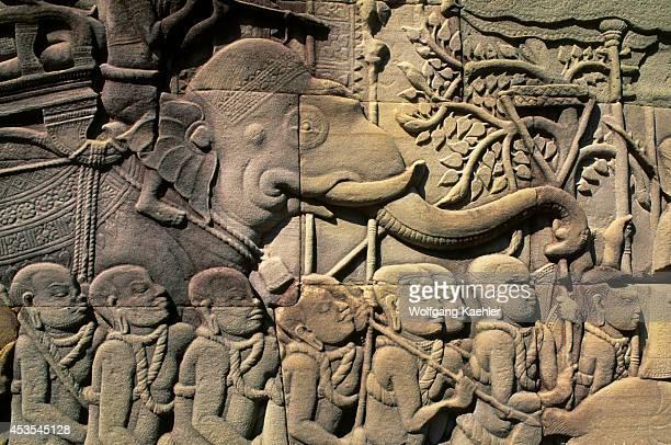 Cambodia Angkor Angkor Thom Bayon Temple Basrelief War Scene Detail
