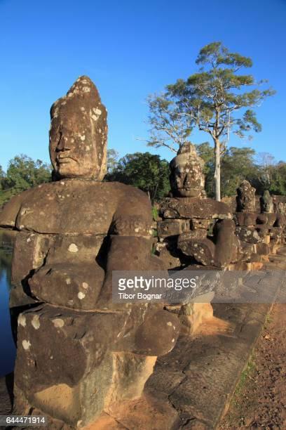 Cambodia, Angkor, Angkor Thom, South Gate, statues, trees,