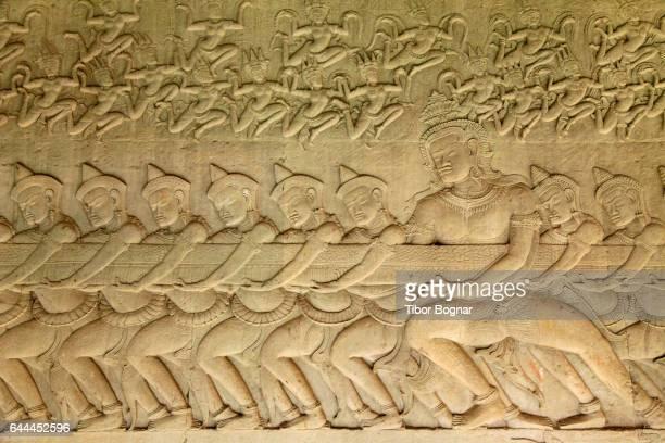 Cambodia, Angkor, Angkor Wat, bas-relief, Churning of the Ocean of Milk,