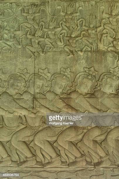 Cambodia Angkor Angkor Wat East Gallery Basrelief Scene Of The Churning Of The Ocean Of Milk Apsaras Above
