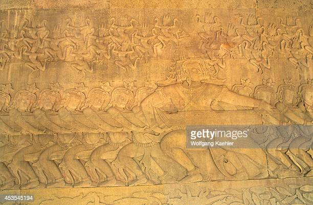 Cambodia Angkor Angkor Wat East Gallery Basrelief Scene Of The Churning Of The Ocean Of Milk