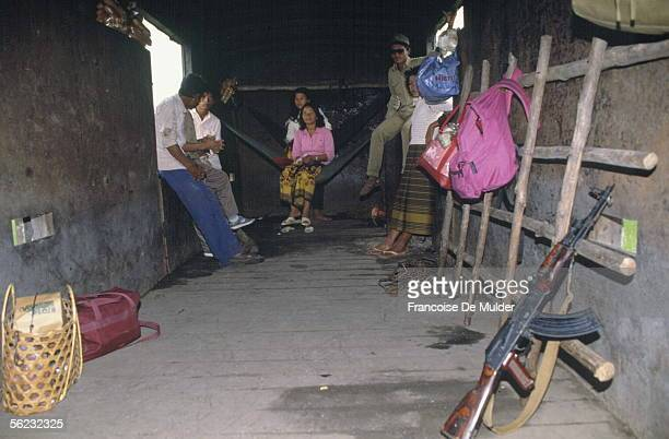 Cambodia Armourplated wagon of the train Phnom PenhBattambang June 1989 FDM202817