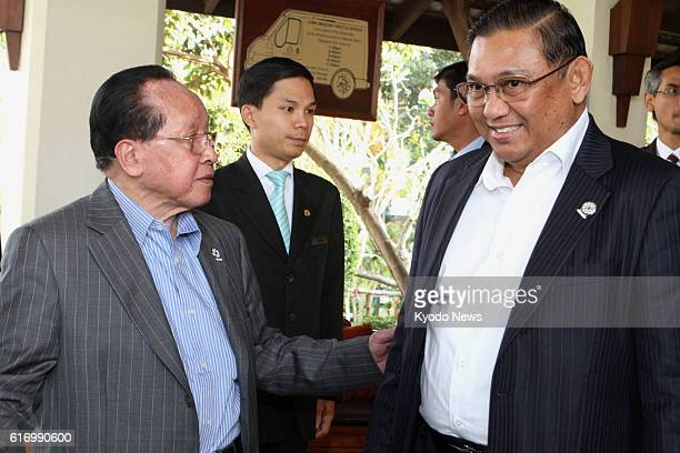 REAP Cambodia Cambodian Deputy Prime Minister and Foreign Minister Hor Namhong and Myanmar Foreign Minister Wunna Maung Lwin chat in Siem Reap...