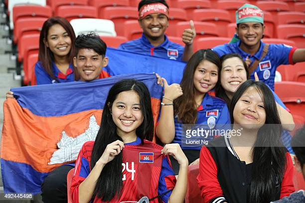 Cambodia fans are pictured before the FIFA 2018 World Cup Qualifier match between Singapore and Cambodia at the National Stadium on October 13 2015...
