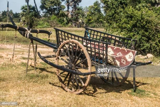 cambodia. kandal province. kampong tralach. - ox cart fotografías e imágenes de stock