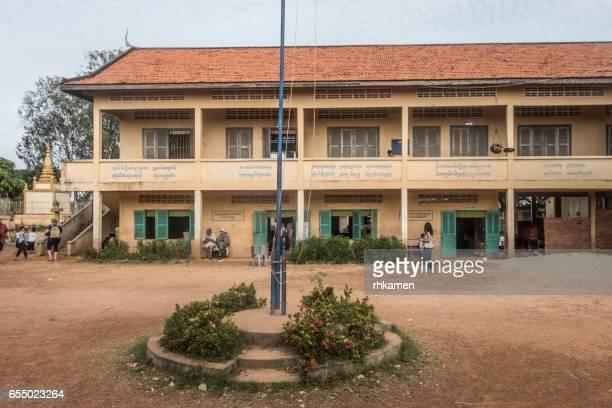 Cambodia. Kandal Province. Prek Kdam. Rural village. School.