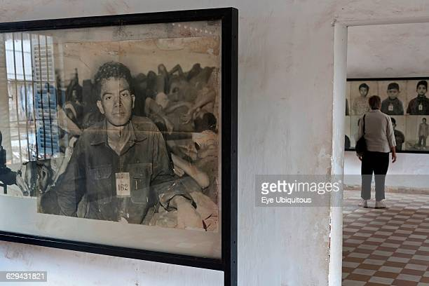 Cambodia Phnom Penh Old grainy victims' photo at Toul Sleng Genocide Museum Security Prison21 S21 Toul Sleng was a high school taken over by the...