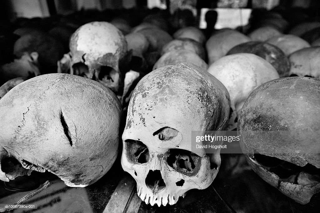 Cambodia, Phnom Penh, shelf at The Killing Fields memorial stupa