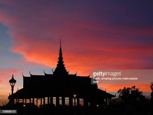 Cambodia, Phnom Penh, Sunset at Royal Palace