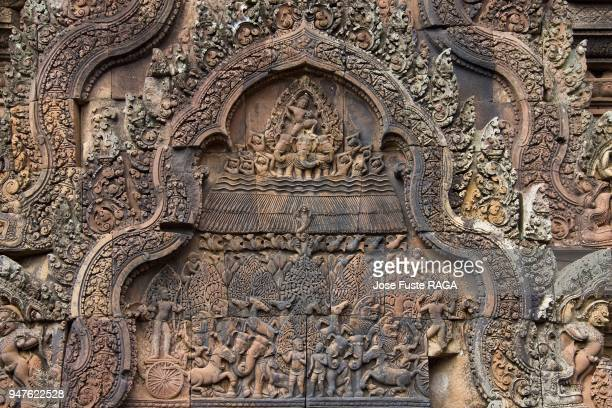 Cambodia Siem Reap City Angkor Temples Banteay Srei Temple Detail.