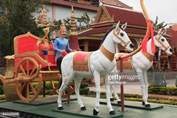 Cambodia, Siem Reap, Preah Promreath Pagoda, buddhist temple, mural,